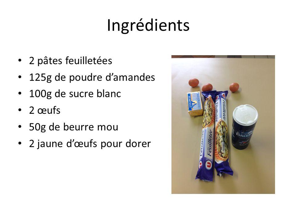 Ingrédients 2 pâtes feuilletées 125g de poudre d'amandes 100g de sucre blanc 2 œufs 50g de beurre mou 2 jaune d'œufs pour dorer