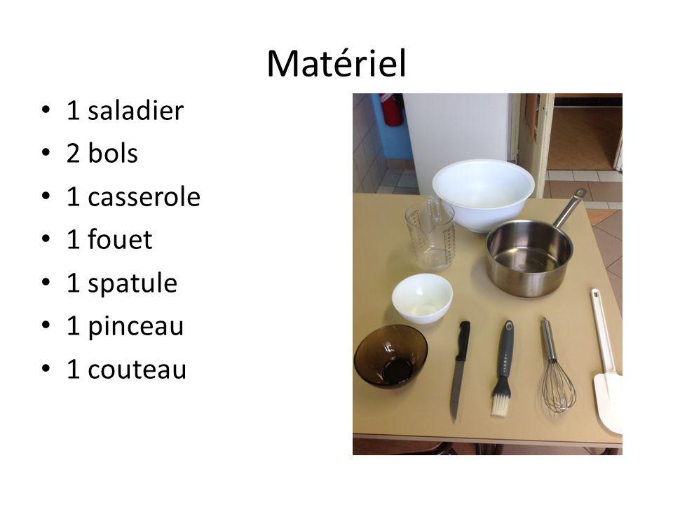 Matériel 1 saladier 2 bols 1 casserole 1 fouet 1 spatule 1 pinceau 1 couteau