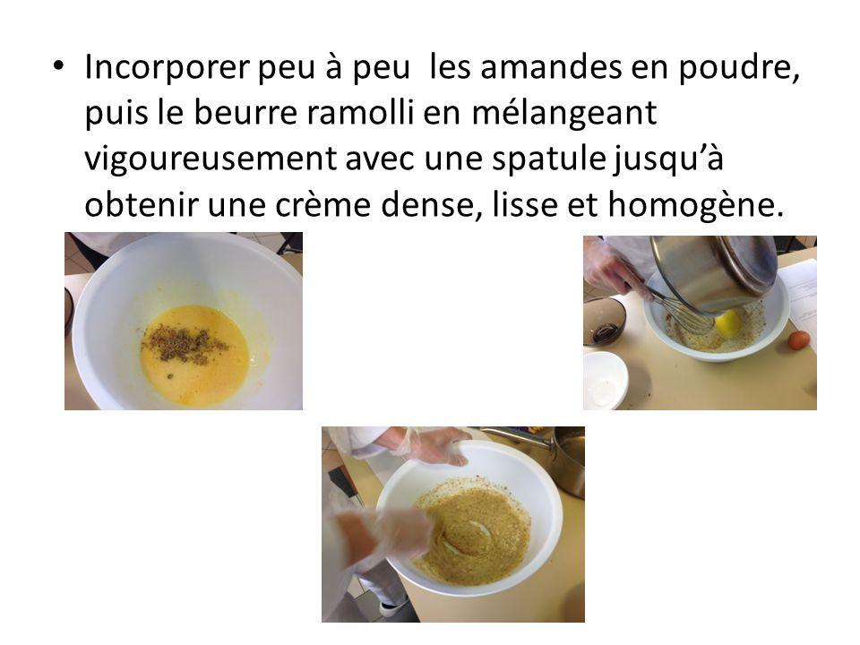 Incorporer peu à peu les amandes en poudre, puis le beurre ramolli en mélangeant vigoureusement avec une spatule jusqu'à obtenir une crème dense, lisse et homogène.