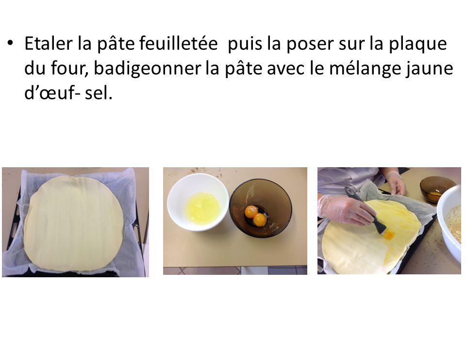 Etaler la pâte feuilletée puis la poser sur la plaque du four, badigeonner la pâte avec le mélange jaune d'œuf- sel.