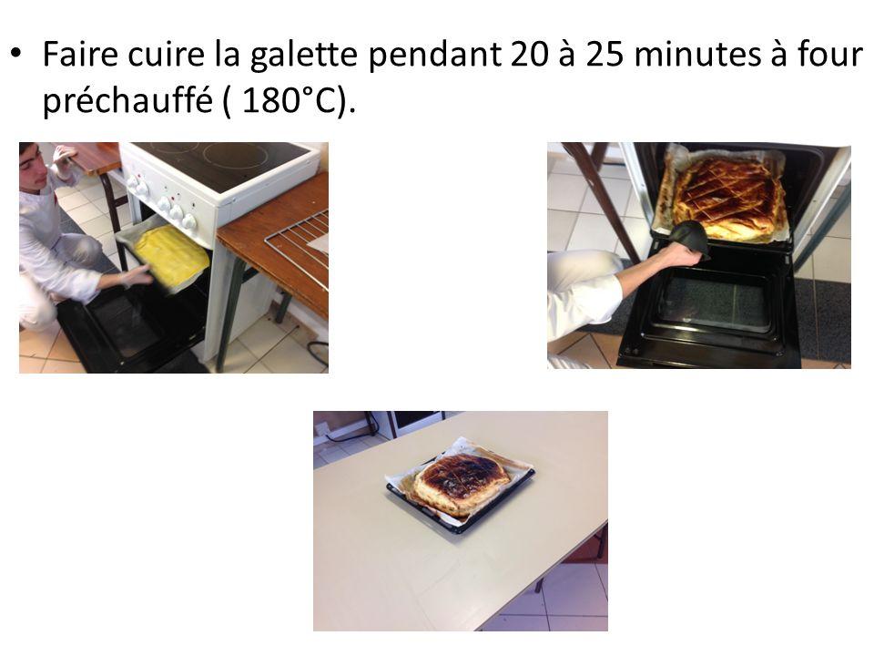 Faire cuire la galette pendant 20 à 25 minutes à four préchauffé ( 180°C).