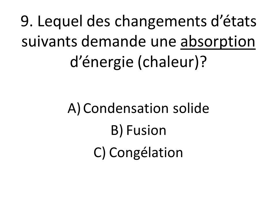 9. Lequel des changements d'états suivants demande une absorption d'énergie (chaleur).