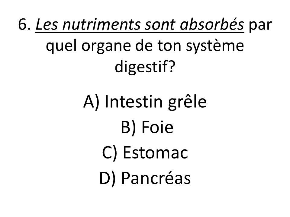 6. Les nutriments sont absorbés par quel organe de ton système digestif.