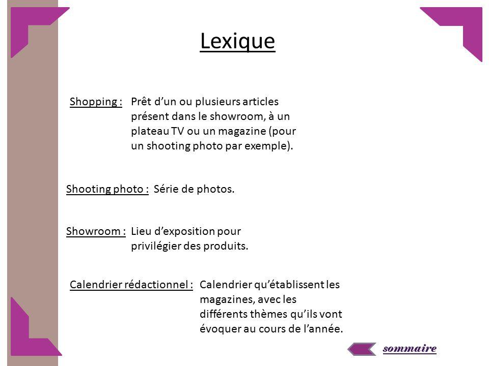 sommaire Lexique Shopping :Prêt d'un ou plusieurs articles présent dans le showroom, à un plateau TV ou un magazine (pour un shooting photo par exemple).