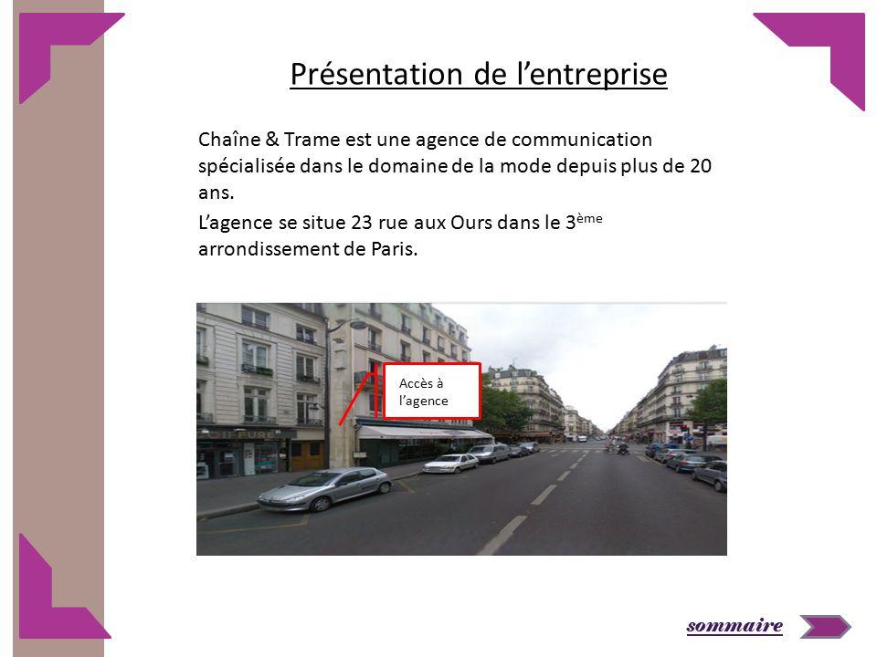 sommaire L'agence se situe 23 rue aux Ours dans le 3 ème arrondissement de Paris. Présentation de l'entreprise Chaîne & Trame est une agence de commun