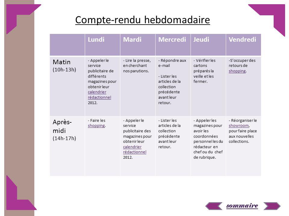 sommaire LundiMardiMercrediJeudiVendredi Matin (10h-13h) - Appeler le service publicitaire de différents magazines pour obtenir leur calendrier rédactionnel 2012.