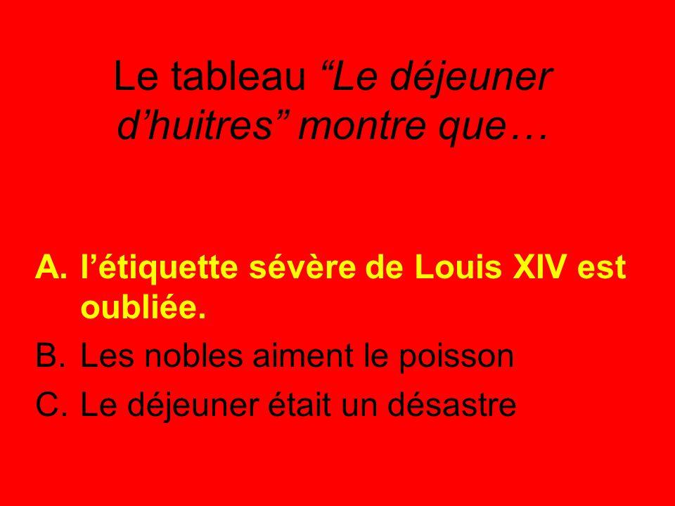 Le tableau Le déjeuner d'huitres montre que… A.l'étiquette sévère de Louis XIV est oubliée.