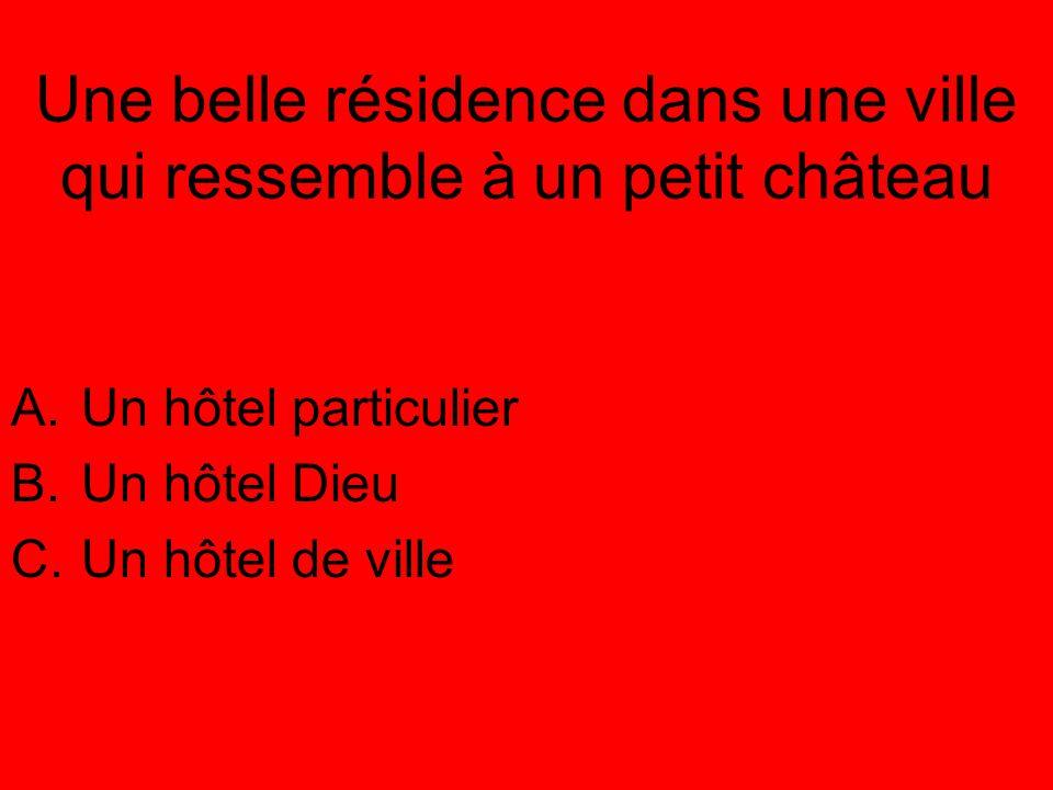 Une belle résidence dans une ville qui ressemble à un petit château A.Un hôtel particulier B.Un hôtel Dieu C.Un hôtel de ville