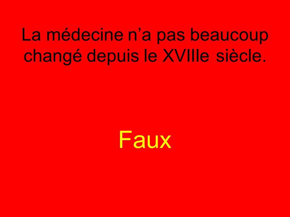 La médecine n'a pas beaucoup changé depuis le XVIIIe siècle. Faux