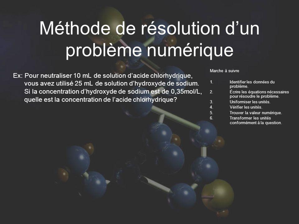 Méthode de résolution d'un problème numérique Marche à suivre 1.
