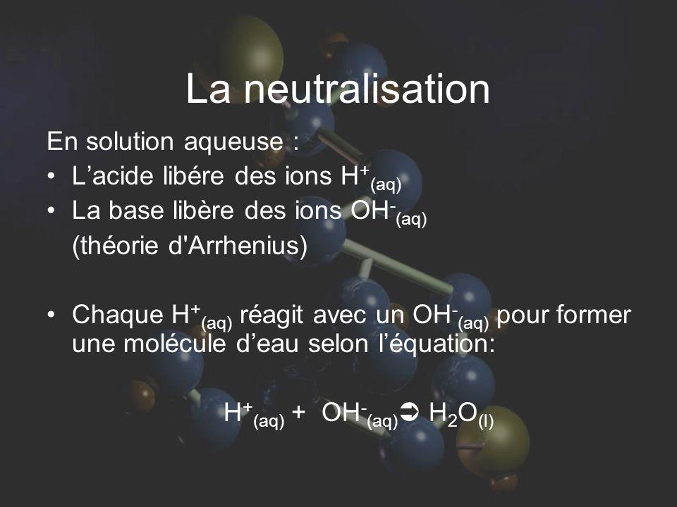 La neutralisation En solution aqueuse : L'acide libére des ions H + (aq) La base libère des ions OH - (aq) (théorie d Arrhenius) Chaque H + (aq) réagit avec un OH - (aq) pour former une molécule d'eau selon l'équation: H + (aq) + OH - (aq)  H 2 O (l)