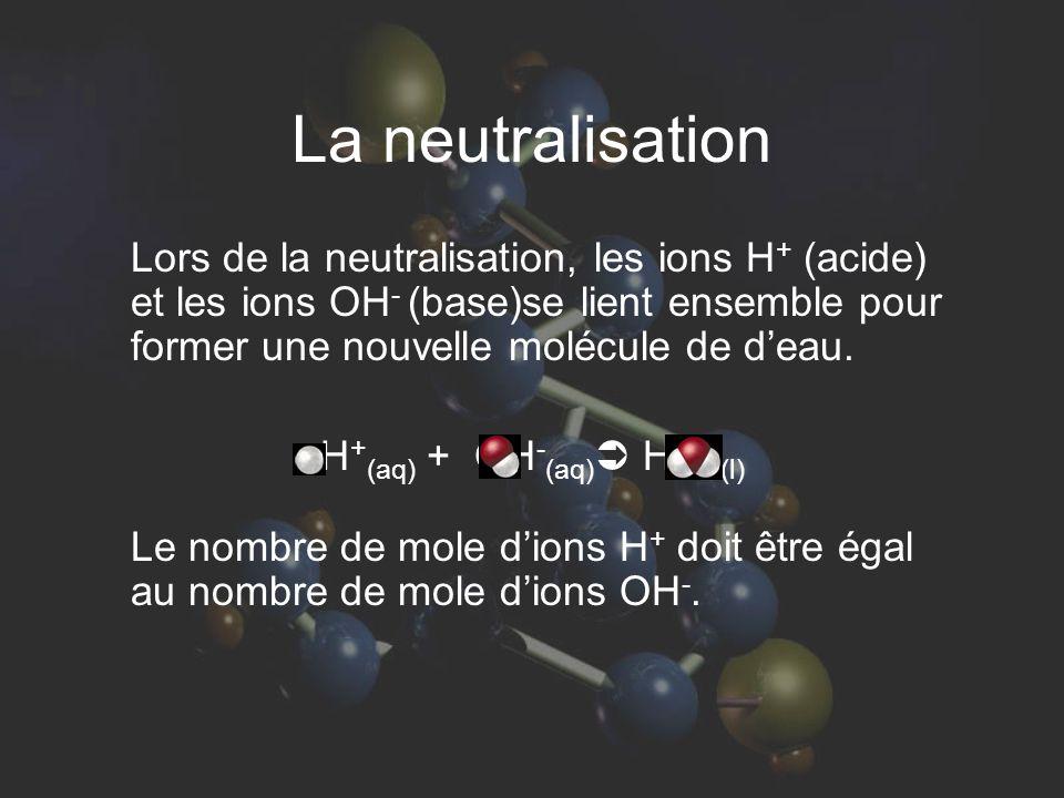 La neutralisation Lors de la neutralisation, les ions H + (acide) et les ions OH - (base)se lient ensemble pour former une nouvelle molécule de d'eau.