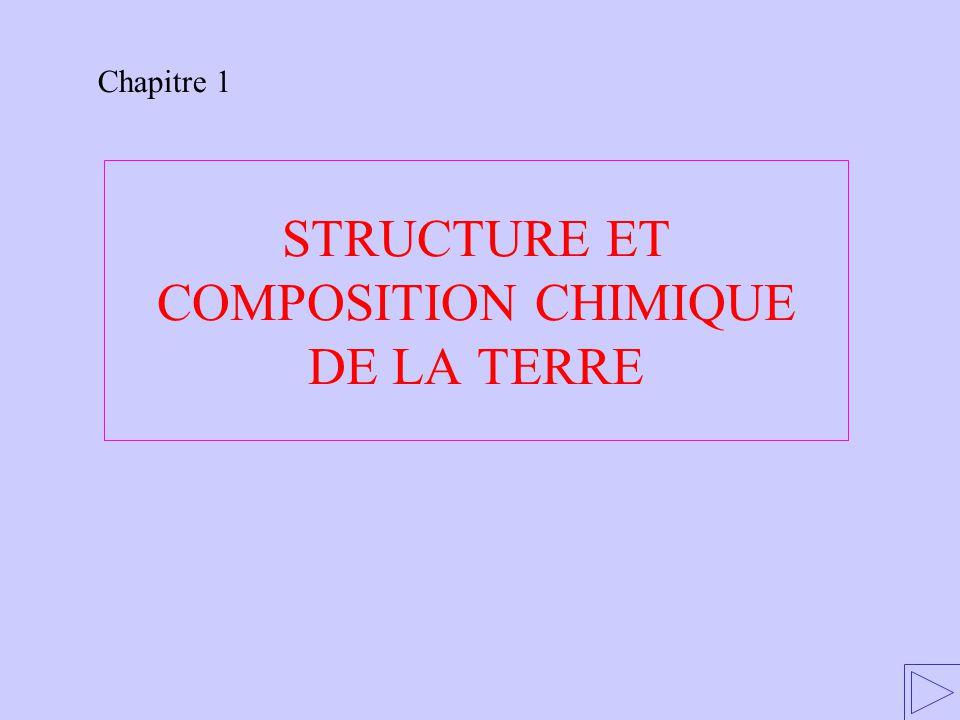 STRUCTURE ET COMPOSITION CHIMIQUE DE LA TERRE Chapitre 1