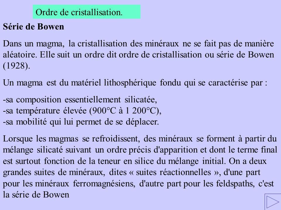 Ordre de cristallisation. Série de Bowen Dans un magma, la cristallisation des minéraux ne se fait pas de manière aléatoire. Elle suit un ordre dit or