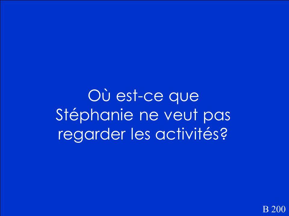 Stéphanie habite dans un petit village au nord du Québec. B 100