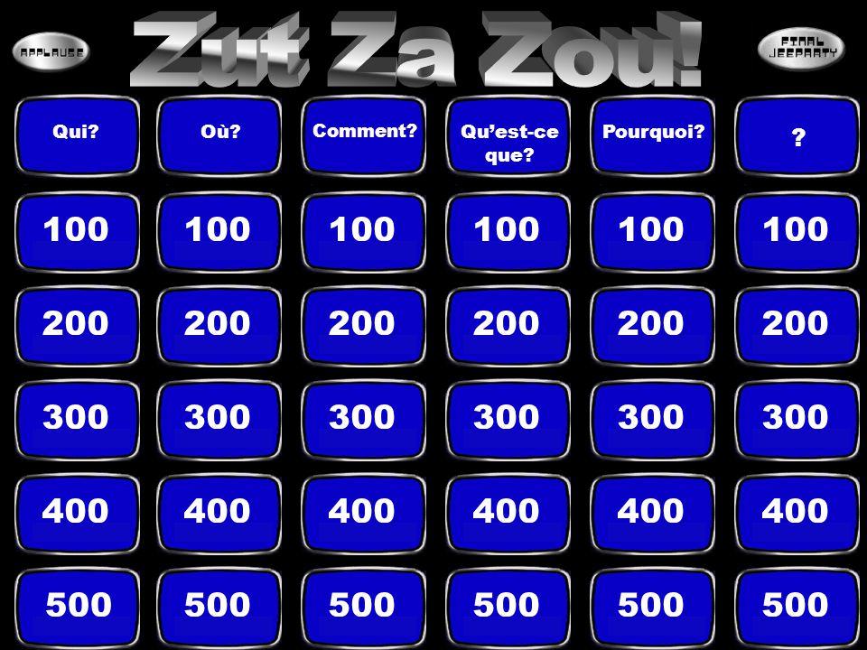 Zut = perds des points Za = échange les points avec l'autre équipe Zou = prends les points de l'autre équipe