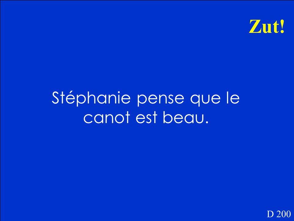 Qu'est-ce que Stéphanie pense du canot D 200