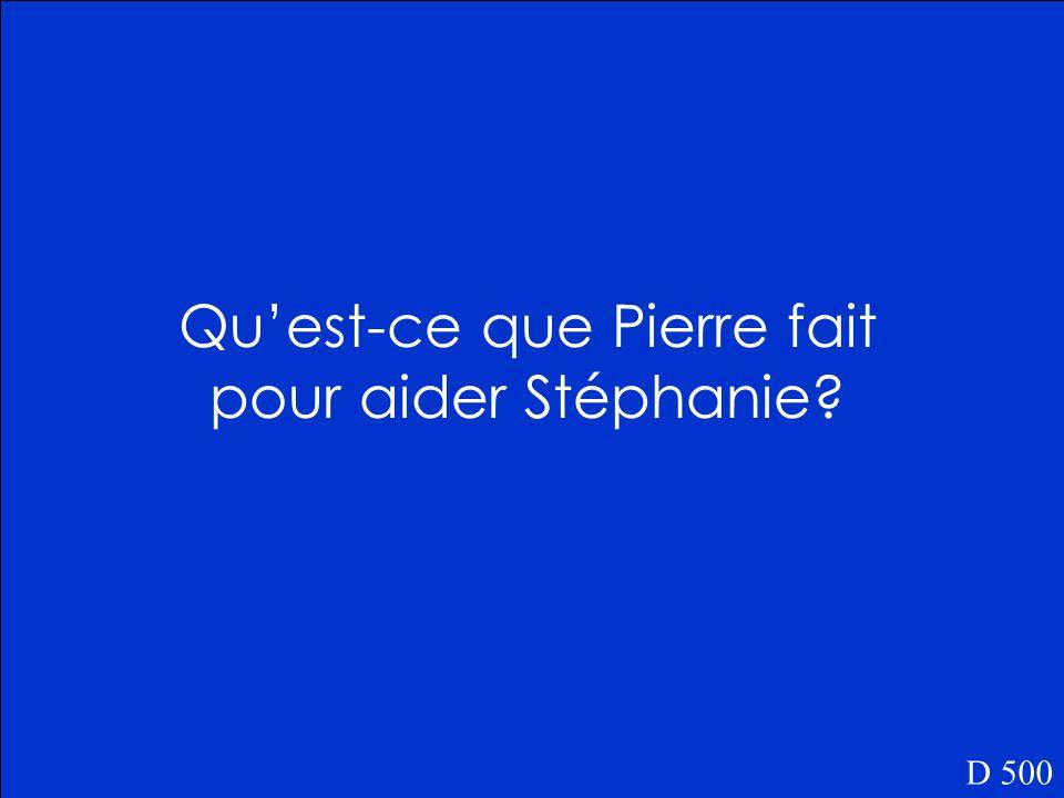 Stéphanie dit: Au secours! Au secours! quand elle est dans le canot. D 400 Za!