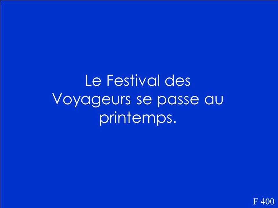 Quand est-ce que le Festival des Voyageurs se passe F 400