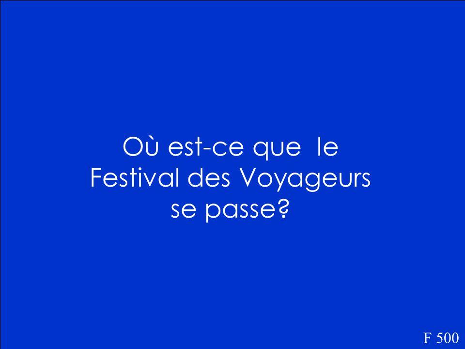 Le Festival des Voyageurs se passe au printemps. F 400