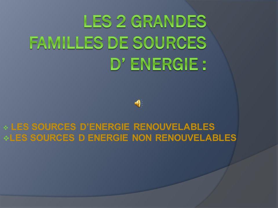  LES SOURCES D'ENERGIE RENOUVELABLES  LES SOURCES D ENERGIE NON RENOUVELABLES