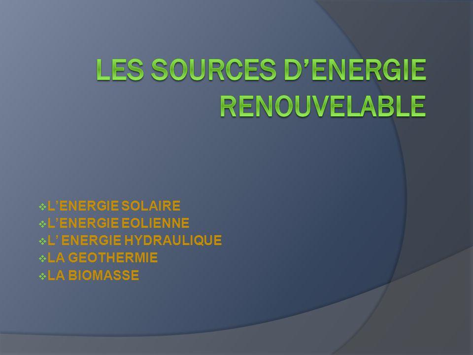  L'ENERGIE SOLAIRE  L'ENERGIE EOLIENNE  L' ENERGIE HYDRAULIQUE  LA GEOTHERMIE  LA BIOMASSE