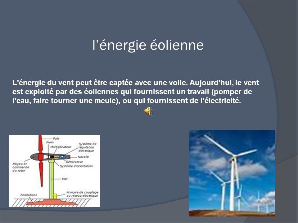 l'énergie éolienne L énergie du vent peut être captée avec une voile.