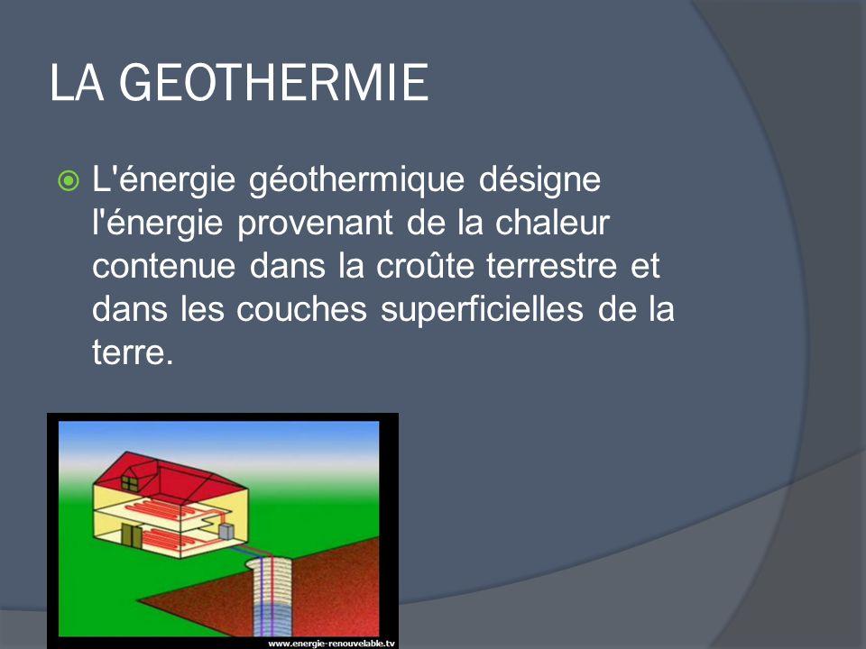 LA GEOTHERMIE  L énergie géothermique désigne l énergie provenant de la chaleur contenue dans la croûte terrestre et dans les couches superficielles de la terre.