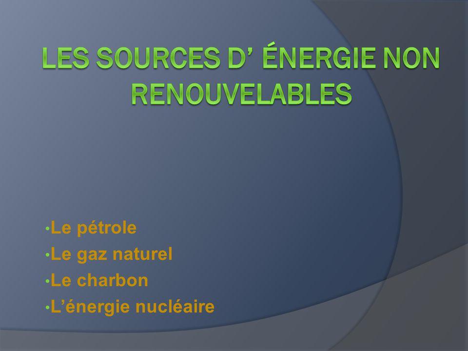 Le pétrole Le gaz naturel Le charbon L'énergie nucléaire