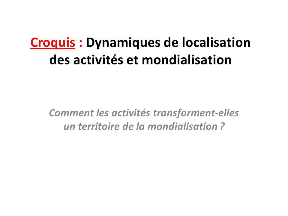 Croquis : Dynamiques de localisation des activités et mondialisation Comment les activités transforment-elles un territoire de la mondialisation ?