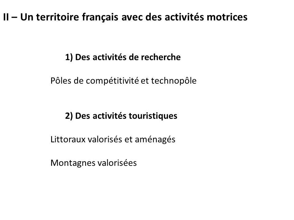 1) Des activités de recherche Pôles de compétitivité et technopôle 2) Des activités touristiques Littoraux valorisés et aménagés Montagnes valorisées II – Un territoire français avec des activités motrices