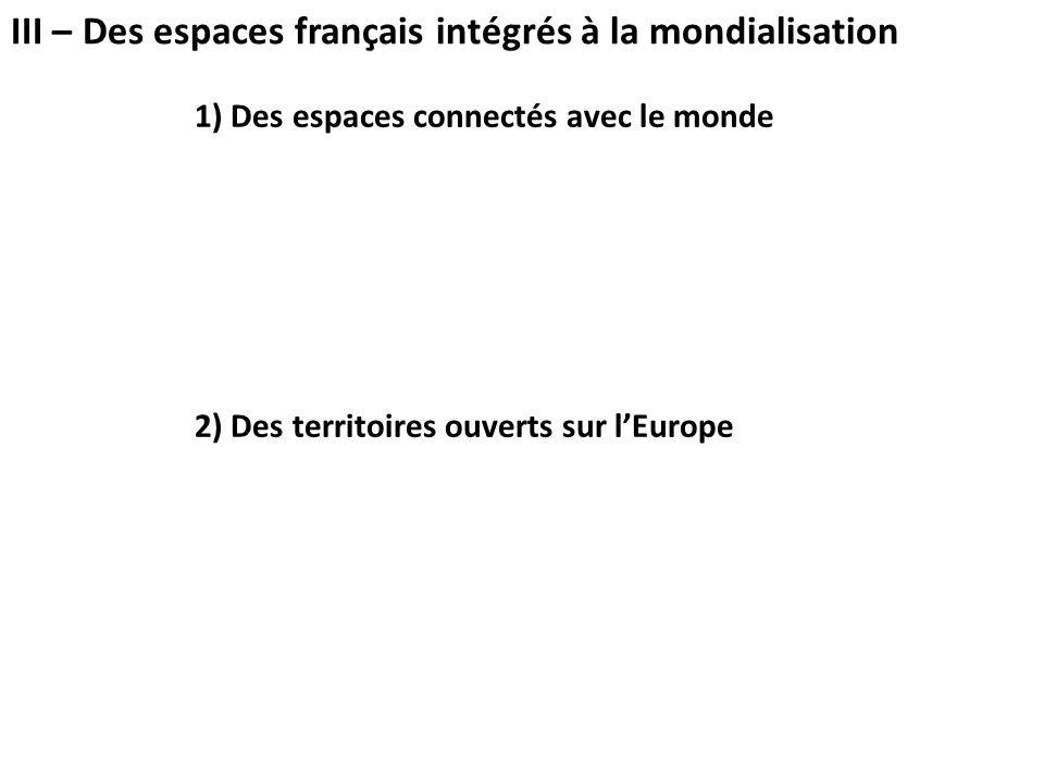 1) Des espaces connectés avec le monde 2) Des territoires ouverts sur l'Europe III – Des espaces français intégrés à la mondialisation