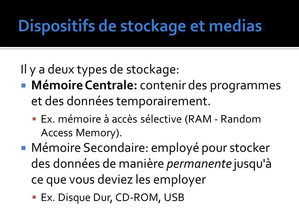 Il y a deux types de stockage:  Mémoire Centrale: contenir des programmes et des données temporairement.