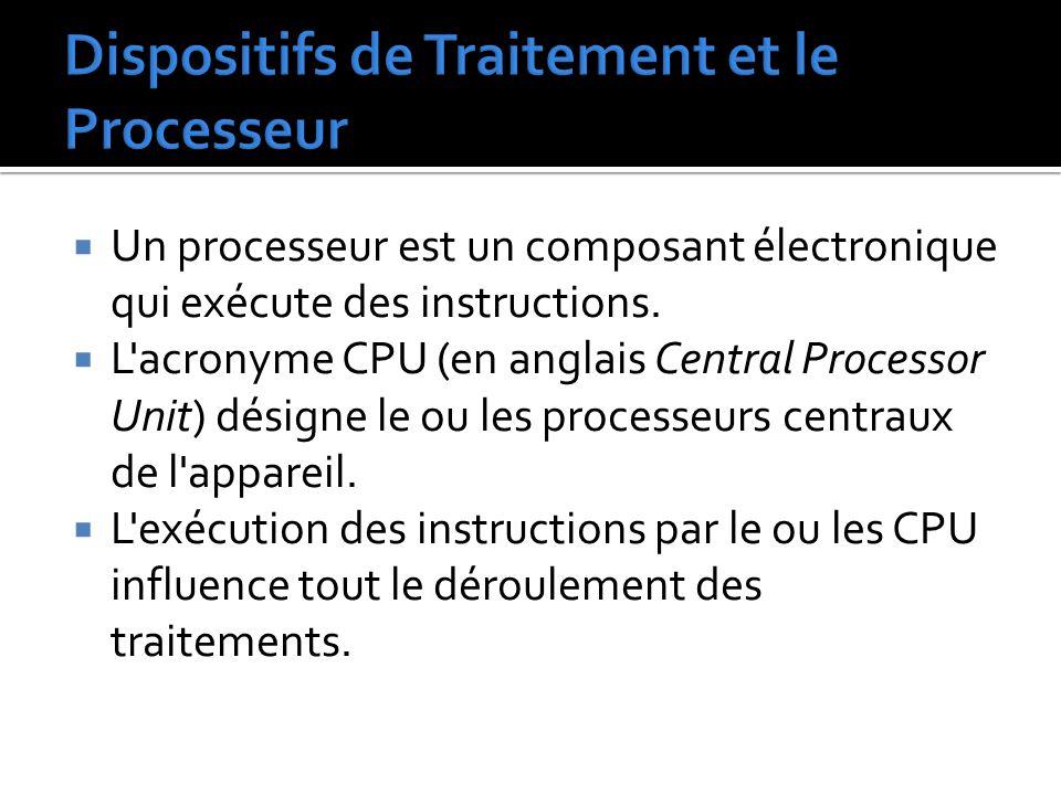  Un processeur est un composant électronique qui exécute des instructions.