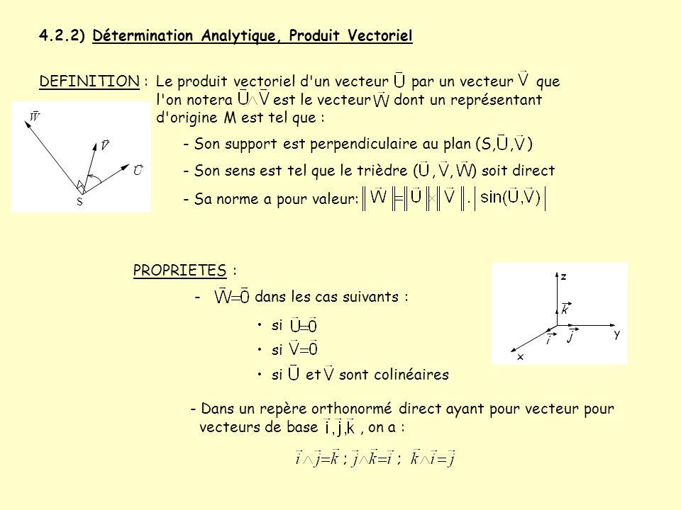 4.2.2) Détermination Analytique, Produit Vectoriel Le produit vectoriel d'un vecteur par un vecteur que l'on notera est le vecteur dont un représentan