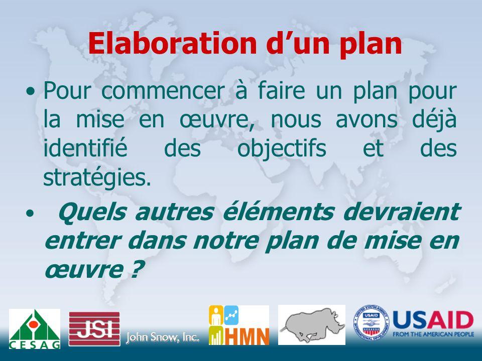 Elaboration d'un plan Pour commencer à faire un plan pour la mise en œuvre, nous avons déjà identifié des objectifs et des stratégies.