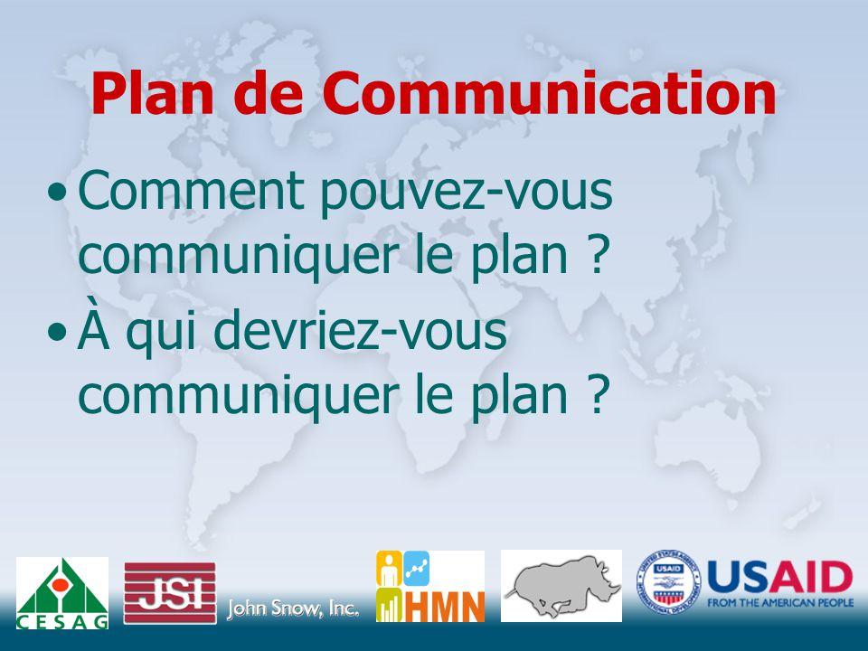 Plan de Communication Comment pouvez-vous communiquer le plan .