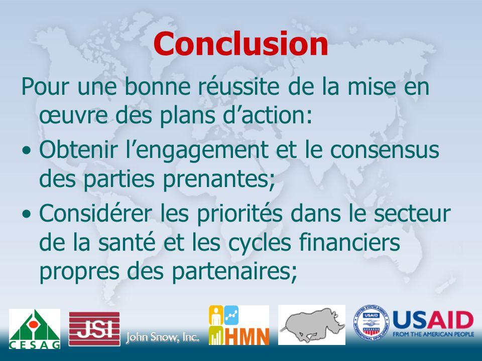 Conclusion Pour une bonne réussite de la mise en œuvre des plans d'action: Obtenir l'engagement et le consensus des parties prenantes; Considérer les priorités dans le secteur de la santé et les cycles financiers propres des partenaires;