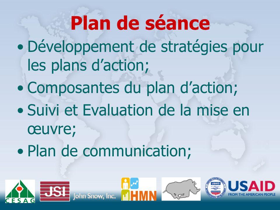 Plan de séance Développement de stratégies pour les plans d'action; Composantes du plan d'action; Suivi et Evaluation de la mise en œuvre; Plan de communication;
