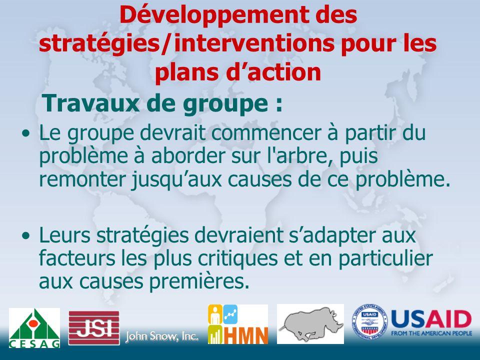 Développement des stratégies/interventions pour les plans d'action Travaux de groupe : Le groupe devrait commencer à partir du problème à aborder sur l arbre, puis remonter jusqu'aux causes de ce problème.