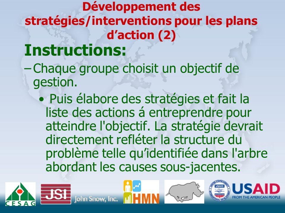 Développement des stratégies/interventions pour les plans d'action (2) Instructions: –Chaque groupe choisit un objectif de gestion.