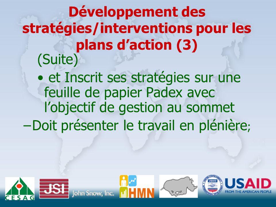 Développement des stratégies/interventions pour les plans d'action (3) (Suite) et Inscrit ses stratégies sur une feuille de papier Padex avec l'objectif de gestion au sommet –Doit présenter le travail en plénière ;