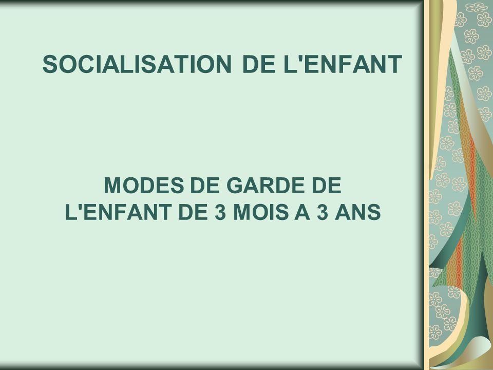 SOCIALISATION DE L ENFANT MODES DE GARDE DE L ENFANT DE 3 MOIS A 3 ANS