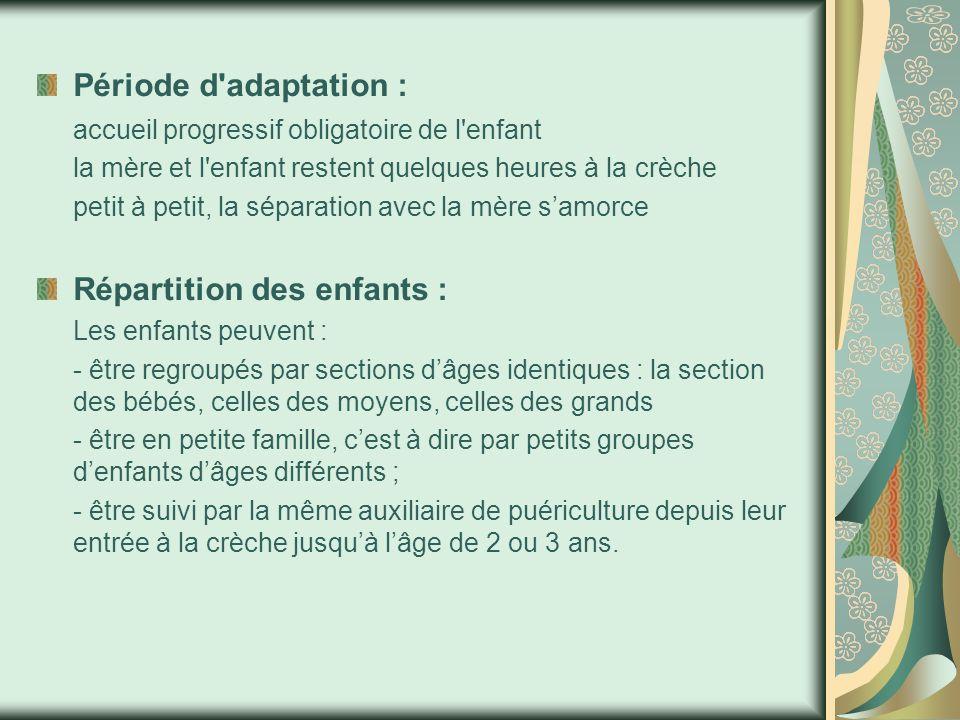 Période d adaptation : accueil progressif obligatoire de l enfant la mère et l enfant restent quelques heures à la crèche petit à petit, la séparation avec la mère s'amorce Répartition des enfants : Les enfants peuvent : - être regroupés par sections d'âges identiques : la section des bébés, celles des moyens, celles des grands - être en petite famille, c'est à dire par petits groupes d'enfants d'âges différents ; - être suivi par la même auxiliaire de puériculture depuis leur entrée à la crèche jusqu'à l'âge de 2 ou 3 ans.