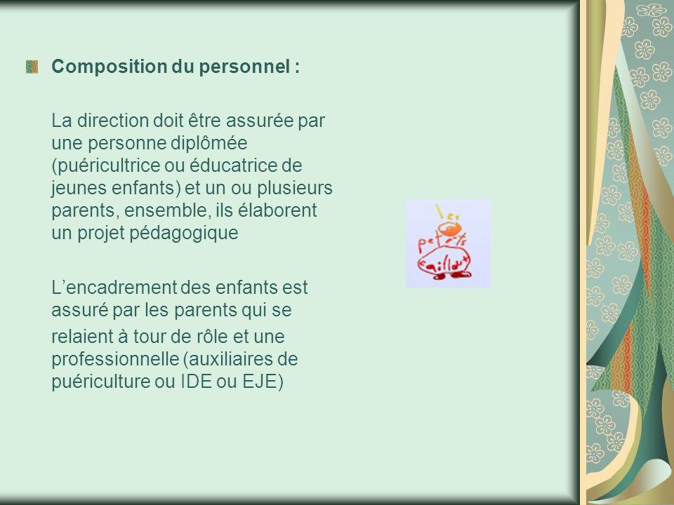 Composition du personnel : La direction doit être assurée par une personne diplômée (puéricultrice ou éducatrice de jeunes enfants) et un ou plusieurs parents, ensemble, ils élaborent un projet pédagogique L'encadrement des enfants est assuré par les parents qui se relaient à tour de rôle et une professionnelle (auxiliaires de puériculture ou IDE ou EJE)