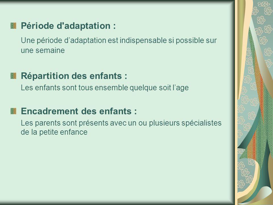 Période d adaptation : Une période d'adaptation est indispensable si possible sur une semaine Répartition des enfants : Les enfants sont tous ensemble quelque soit l'age Encadrement des enfants : Les parents sont présents avec un ou plusieurs spécialistes de la petite enfance
