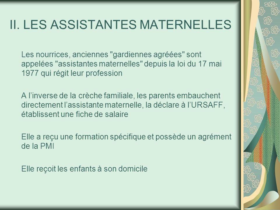 II. LES ASSISTANTES MATERNELLES Les nourrices, anciennes