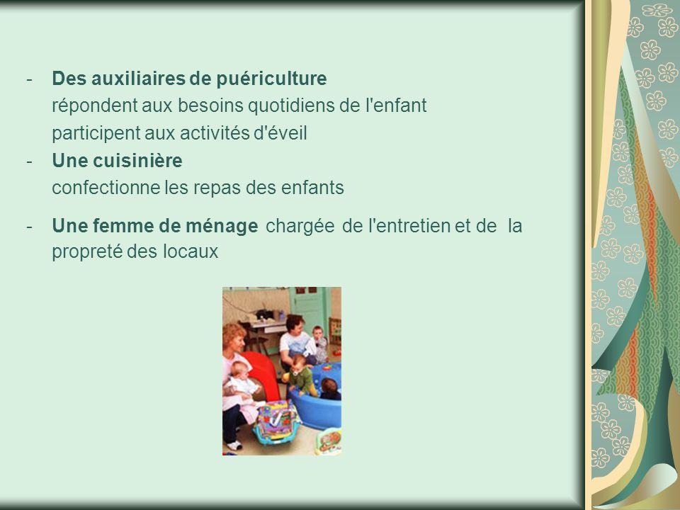 -Des auxiliaires de puériculture répondent aux besoins quotidiens de l enfant participent aux activités d éveil -Une cuisinière confectionne les repas des enfants -Une femme de ménage chargée de l entretien et de la propreté des locaux