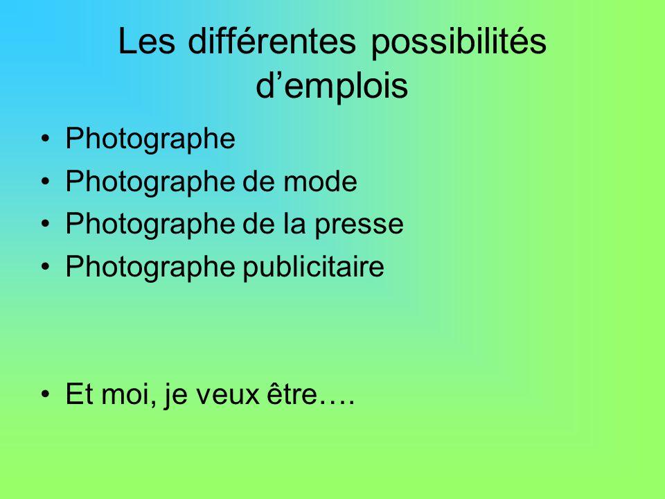 Les différentes possibilités d'emplois Photographe Photographe de mode Photographe de la presse Photographe publicitaire Et moi, je veux être….