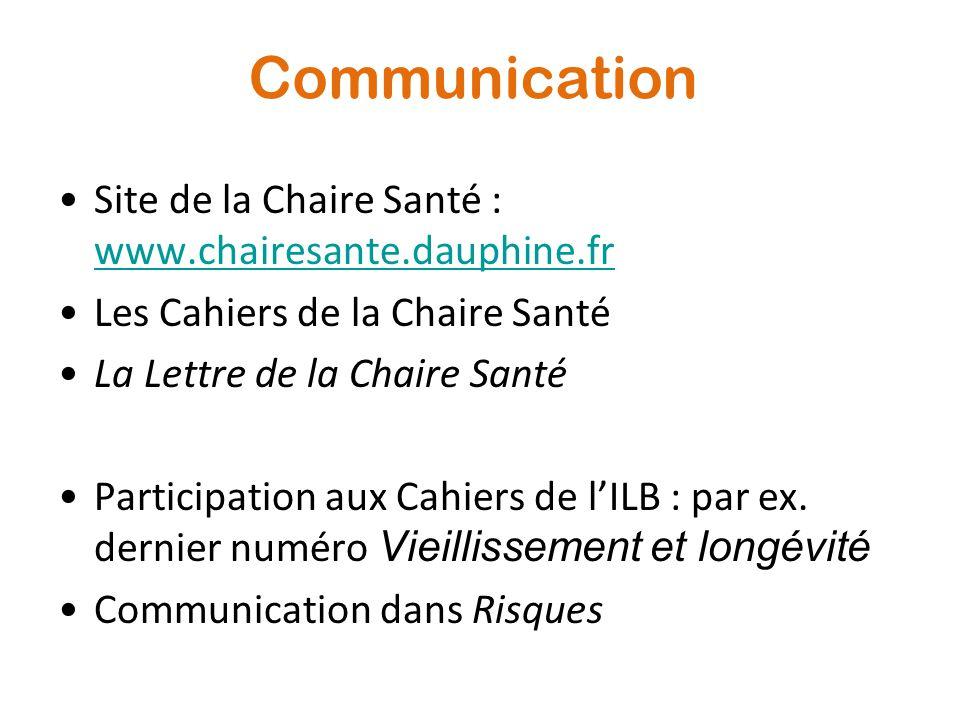 Communication Site de la Chaire Santé : www.chairesante.dauphine.fr www.chairesante.dauphine.fr Les Cahiers de la Chaire Santé La Lettre de la Chaire Santé Participation aux Cahiers de l'ILB : par ex.
